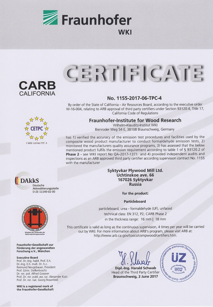 The first Syktyvkar plywood mill LTD certificate of conformity to requirements of CARB for PB/MFC