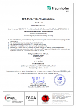 EPA TSCA VI-Certificate for compliance with requirements of the US Environmental Protection Agency (EPA) No. 1155